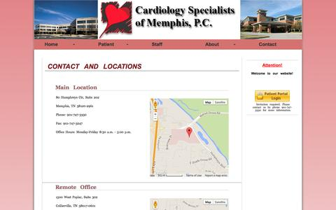 Screenshot of Contact Page Locations Page csmem.com - Cardiology Specialists of Memphis - Contact - captured Oct. 22, 2014