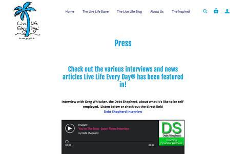 Screenshot of Press Page livelifeeveryday.com - Press | Live Life Every Day - captured Nov. 11, 2016