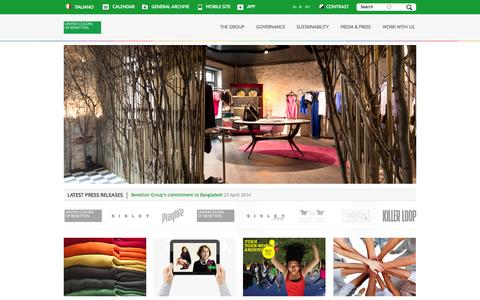 Screenshot of Home Page benettongroup.com - Benetton Group - Corporate Website | - captured Sept. 19, 2014