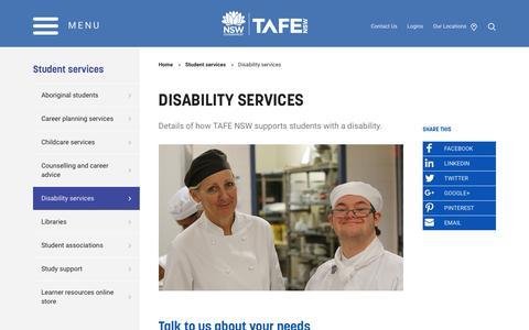 Disability services - TAFE