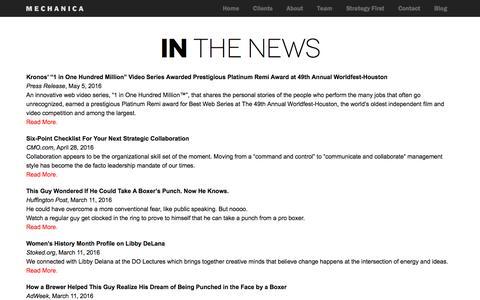 Screenshot of Press Page mechanicausa.com - MechanicaUSA Mechanica in the News - captured Oct. 11, 2016