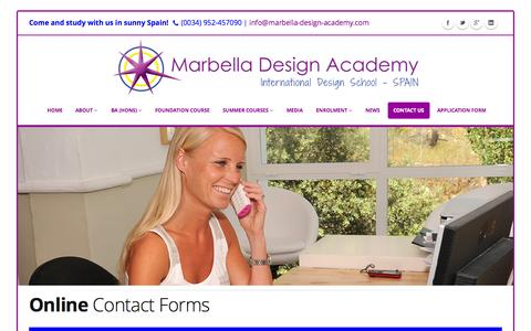 Screenshot of Contact Page designschool.com - All Contact Forms - Marbella Design Academy - captured Oct. 30, 2014