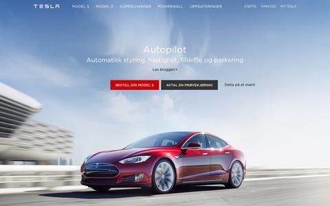 Screenshot of teslamotors.com - Tesla Motors Norge | Førsteklasses elektriske biler - captured March 19, 2016