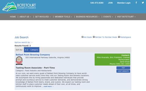 Screenshot of Jobs Page botetourtchamber.com - Job Search -  | Botetourt Chamber of Commerce - captured Oct. 24, 2018