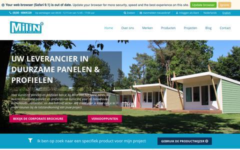 Screenshot of Home Page milin.nl - Milin B.V. Panelen & profielen - leverancier van duurzame afbouwmaterialen - captured Oct. 19, 2017