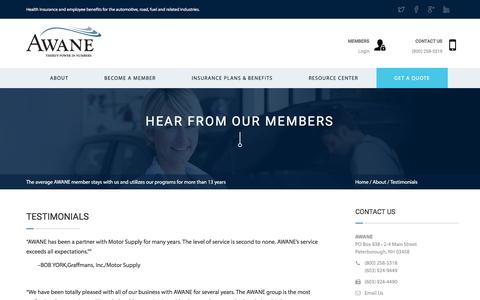 Screenshot of Testimonials Page awane.com - Testimonials | AWANE - captured Nov. 20, 2016