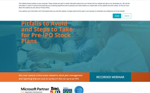 Screenshot of Landing Page certent.com - EM WR | Pitfalls to Avoid and Steps to Take for Pre-IPO Stock Plans - captured June 28, 2019