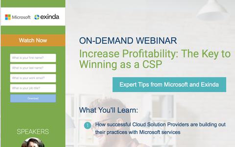 Screenshot of Landing Page exinda.com - On-Demand Webinar: Increase Profitability: The Key to Winning as a CSP - captured June 21, 2017