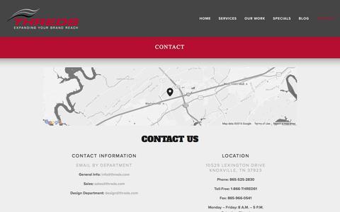 Screenshot of Contact Page threds.com - Contact — Threds, Inc - captured Feb. 16, 2016
