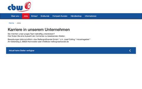 Screenshot of Jobs Page cbw-reifengrosshandel.de - » JobsCBW Reifengroßhandel - captured June 7, 2018