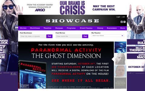 Screenshot of Home Page showcasecinemas.com - Showcase Cinemas - captured Oct. 22, 2015