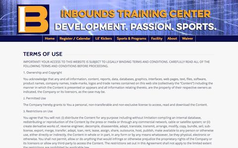 Screenshot of Terms Page inboundstraining.com - Terms of Use - In-Bounds Training Center - captured Feb. 10, 2016