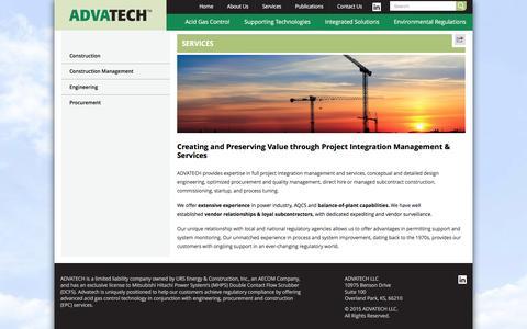 Screenshot of Services Page advatechllc.com - Project Integration Management & Services | ADVATECH LLC - captured Dec. 24, 2015