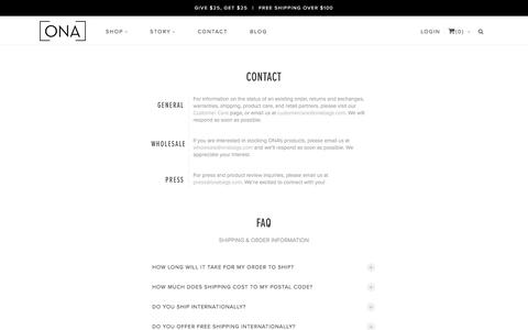 Screenshot of Contact Page onabags.com - ONA    Contact   Fine Bags and Accessories - captured Nov. 12, 2016