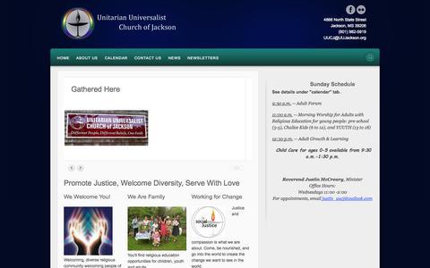 Screenshot of Home Page uujackson.org - Home::UU Church Jackson Mississippi - captured Oct. 7, 2014