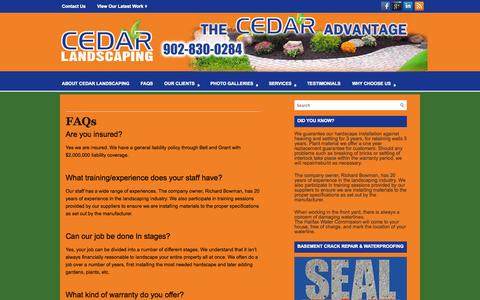 Screenshot of FAQ Page cedarlandscaping.ca - FAQs   Halifax Landscaping Service – CedarLandscaping.Ca is a high quality landscaping company located in Halifax HRM, Nova Scotia. - captured Sept. 29, 2014