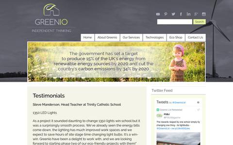 Screenshot of Testimonials Page greenio.co.uk - Testimonials | Greenio - captured Sept. 30, 2018
