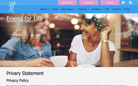 Screenshot of Privacy Page friend4life.org - Friend For Life - Privacy Statement - captured Oct. 11, 2018