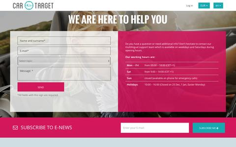 Screenshot of Contact Page car-target.com - Contact Vehicle Rent Support - captured Oct. 21, 2016