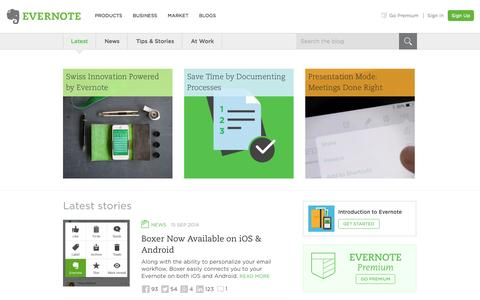 Screenshot of Blog evernote.com - Evernote Blog - Remember Everything. - captured Sept. 16, 2014