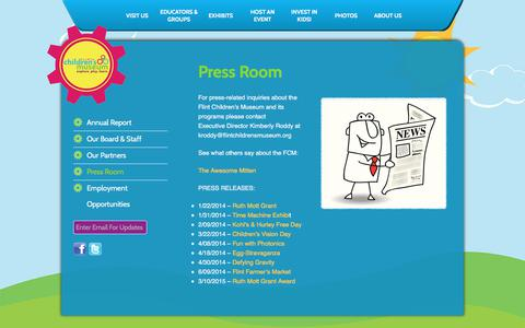 Screenshot of Press Page flintchildrensmuseum.org - Press Room : Flint Children Museum - captured June 6, 2017