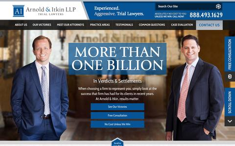 Screenshot of Home Page arnolditkin.com - Houston Personal Injury Lawyer | Arnold & Itkin LLP - captured Sept. 24, 2014