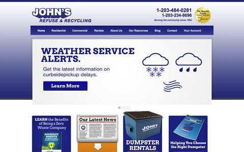 Screenshot of Home Page johnsrefuse.com - Waste Management Solutions | John's Refuse & Recycling | Connecticut - captured Sept. 30, 2014
