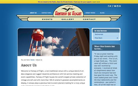 Screenshot of About Page fantasyofflight.com - Central Florida's Best Vintage Aircraft Collection   Fantasy of Flight - captured Sept. 30, 2014