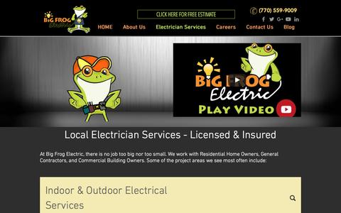 Screenshot of Services Page bigfrogelectric.com - Licensed Electrician Services | Buford - Alpharetta -Suwanee - captured July 29, 2016