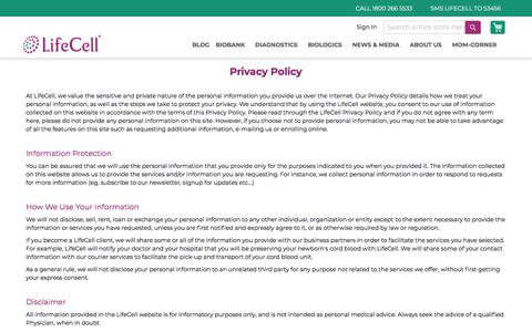 Screenshot of Privacy Page lifecell.in - Privacy Policy | Lifecell - captured Nov. 17, 2019