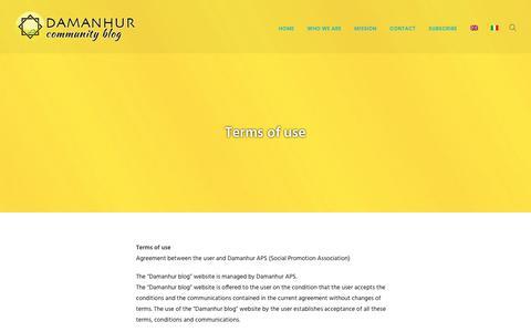 Screenshot of Terms Page damanhurblog.com - Terms of use - Damanhur Community Blog - captured Jan. 6, 2018