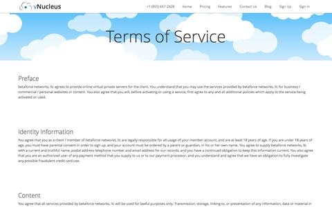 Screenshot of Terms Page vnucleus.com - Terms of Service - vNucleus - captured Oct. 5, 2014