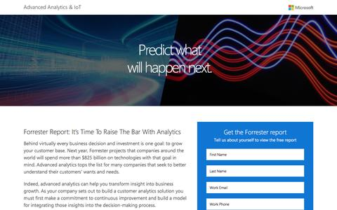 Screenshot of Landing Page microsoft.com - Forrester Report: It's Time To Raise The Bar With Analytics | Microsoft - captured Feb. 5, 2017