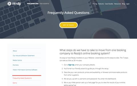 Screenshot of FAQ Page rezdy.com - Frequently Asked Questions : Rezdy - captured Oct. 31, 2014