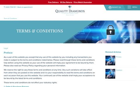 Screenshot of Terms Page qualitydiamonds.co.uk - Terms & Conditions - captured May 18, 2017