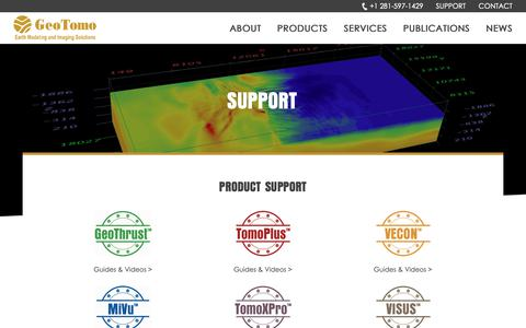 Screenshot of Support Page geotomo.com - Support - captured Sept. 27, 2018