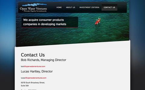 Screenshot of Contact Page openwaterventures.com - Contact Us | Open Water Ventures - captured Sept. 30, 2014