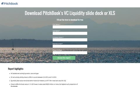 Screenshot of Landing Page pitchbook.com - PitchBook 1H 2016 VC Liquidity Report - captured Aug. 18, 2016