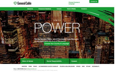 Screenshot of Home Page generalcable.com - Wire and Cable Solutions � General Cable� - captured Dec. 1, 2015