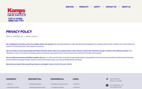 Screenshot of Privacy Page kampspropane.com - Privacy Policy | Kamps Propane - California's Clean Energy Company - captured Jan. 9, 2016