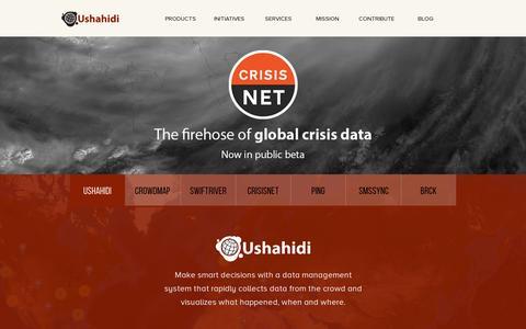 Screenshot of Home Page ushahidi.com - Open Source, Global Impact, Freedom of Information: Ushahidi - Ushahidi - captured July 11, 2014