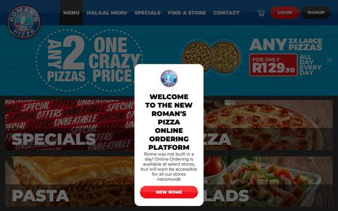 Screenshot of Menu Page romanspizza.co.za - Roman's Pizza | Best Pizza. Best Value - captured Oct. 4, 2018
