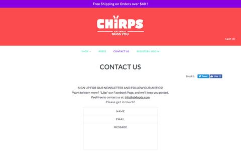 Screenshot of Contact Page sixfoods.com - CONTACT US – Chirps Chips - captured Jan. 20, 2017