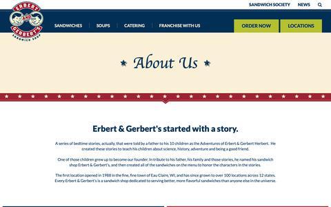 Screenshot of About Page erbertandgerberts.com - Our Story | Live Flavorfully | Erbert & Gerbert's Sandwich Shop - captured Sept. 28, 2018
