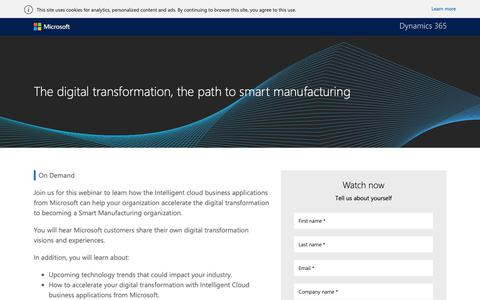 Screenshot of Landing Page microsoft.com - The digital transformation, the path to smart manufacturing - captured Oct. 30, 2018