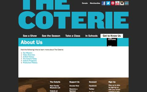 Screenshot of About Page thecoterie.org - About Us | Coterie Theatre - captured Oct. 3, 2014