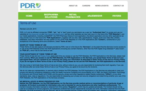 Screenshot of Terms Page pdrnetwork.com - PDR - Terms of Use - captured Oct. 5, 2016