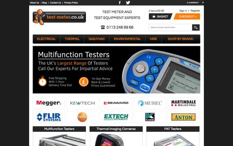 Screenshot of Home Page test-meter.co.uk - Test Meters, Electrical Testing Equipment & Measurement Instruments - captured Oct. 9, 2014