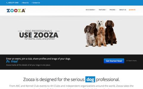 Screenshot of Home Page zooza.com - Dog professionals use Zooza for entering shows, joining clubs, and sharing profiles. - captured Oct. 7, 2014