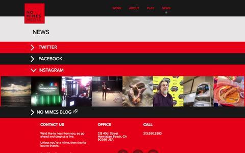 Screenshot of Press Page nomimes.com - No Mimes Media - News - captured Oct. 9, 2014